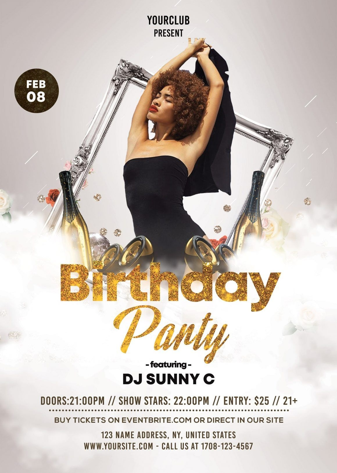 Birthday Party Free White & Gold Psd Flyer Template | Free Psd - Pool Party Flyers Free Printable