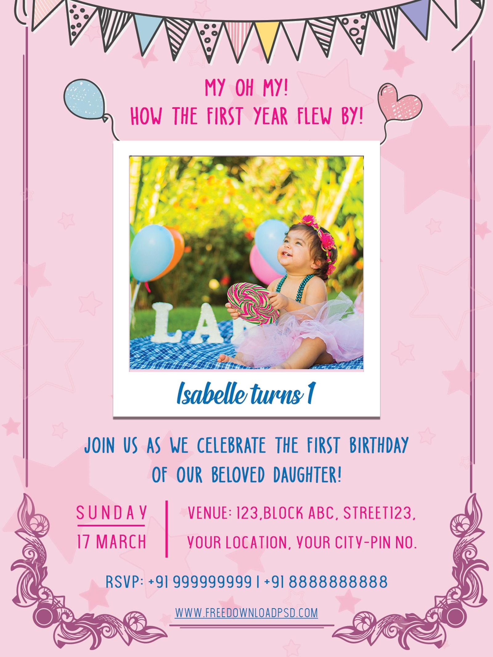 Birthday Party Invitation Psd Flyer | Freedownloadpsd - Free Printable Birthday Party Flyers