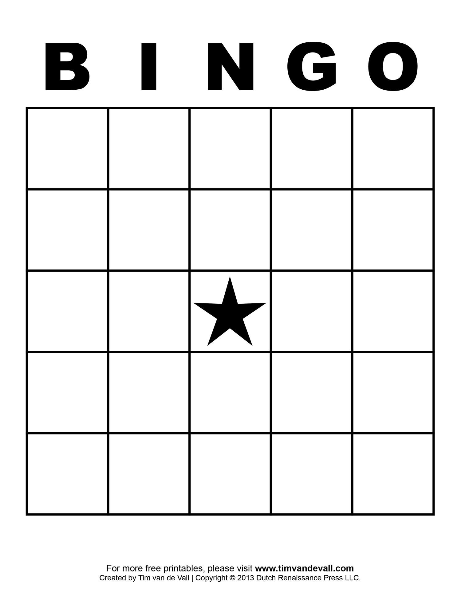 Blank Bingo Template - Tim's Printables - Free Printable Bingo Cards Random Numbers