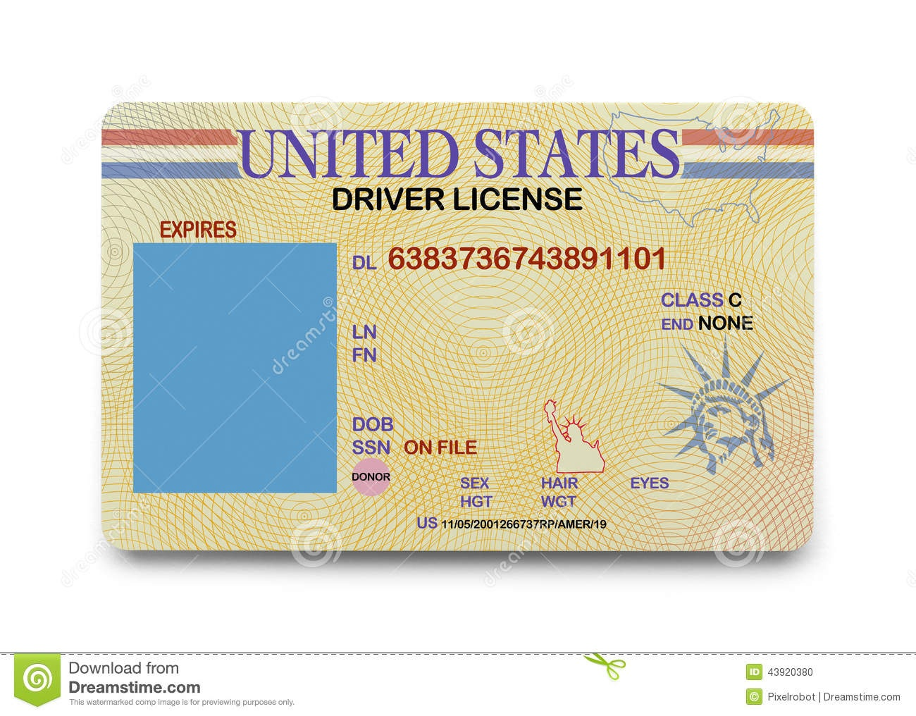 Blank Driver License Stock Photo. Image Of Current, Blank - 43920380 - Free Printable Fake Drivers License