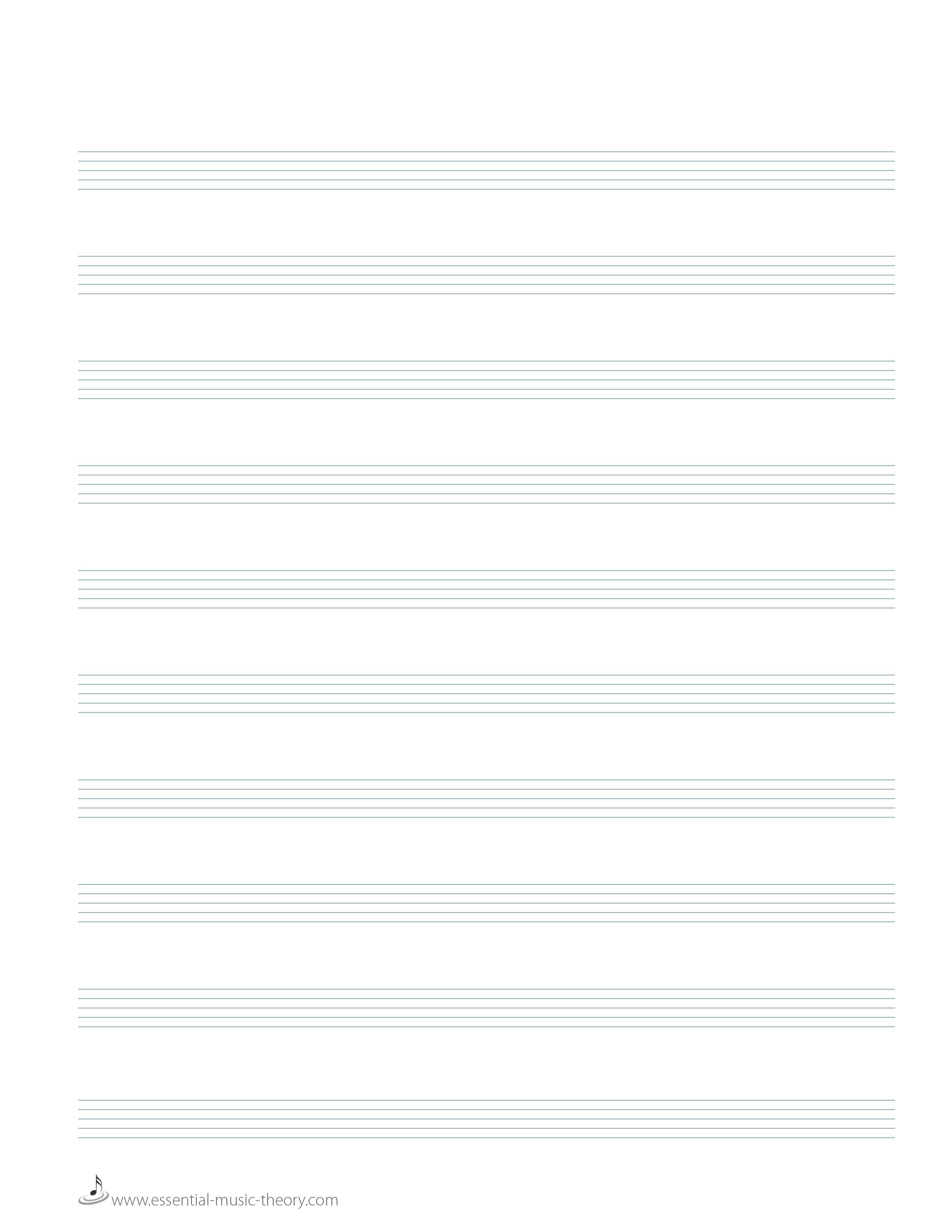 Blank Manuscript Paper - Free Printable Music Staff