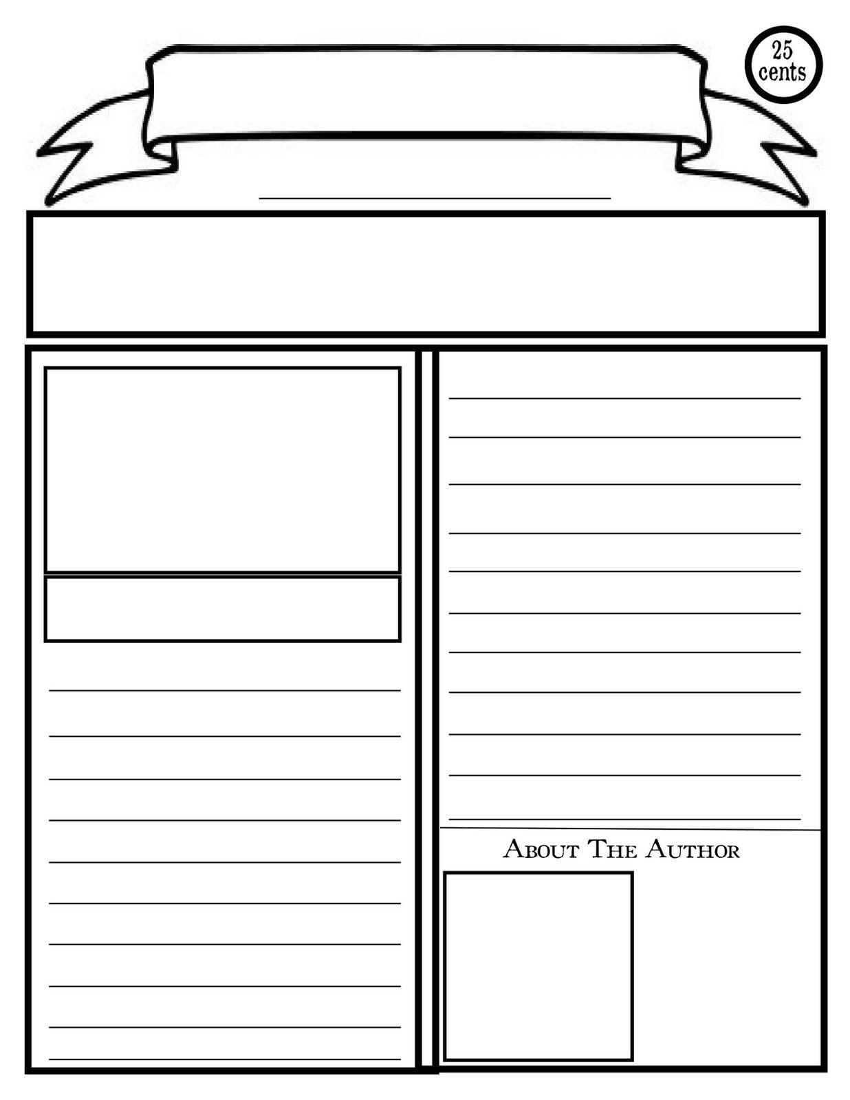 Blank Newspaper Template For Kids Printable   Homework Help - Free Printable Homework Templates
