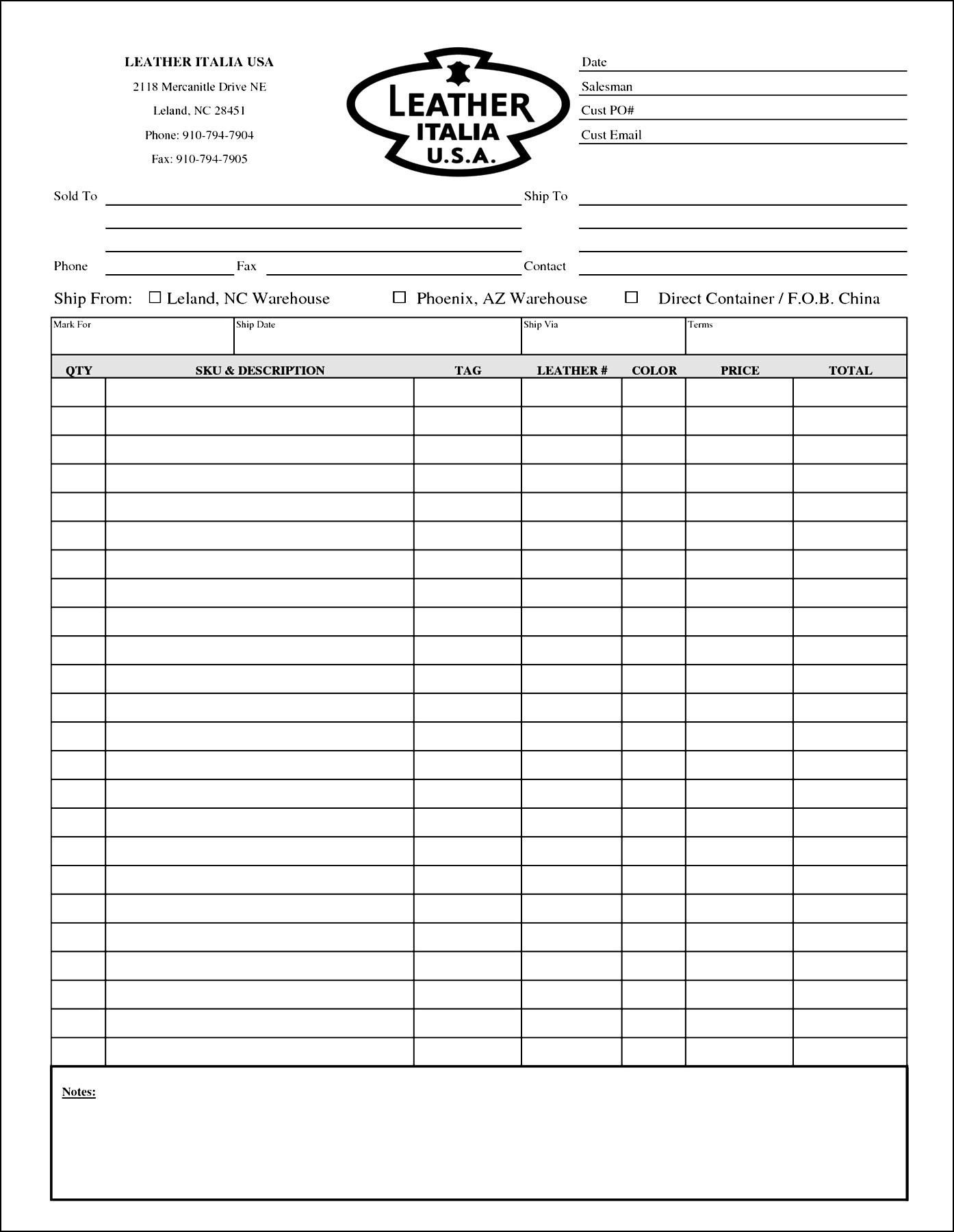 Blank Order Form Template Excel | Besttemplates123 | Sample Order - Free Printable Order Forms
