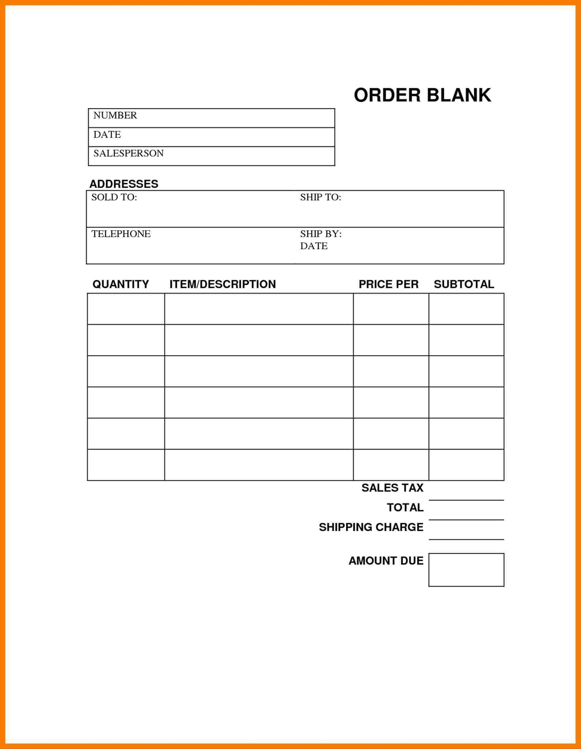 Blank Order Forms Templates Free | Free Tamplate | Order Form - Free Printable Blank Receipt Form