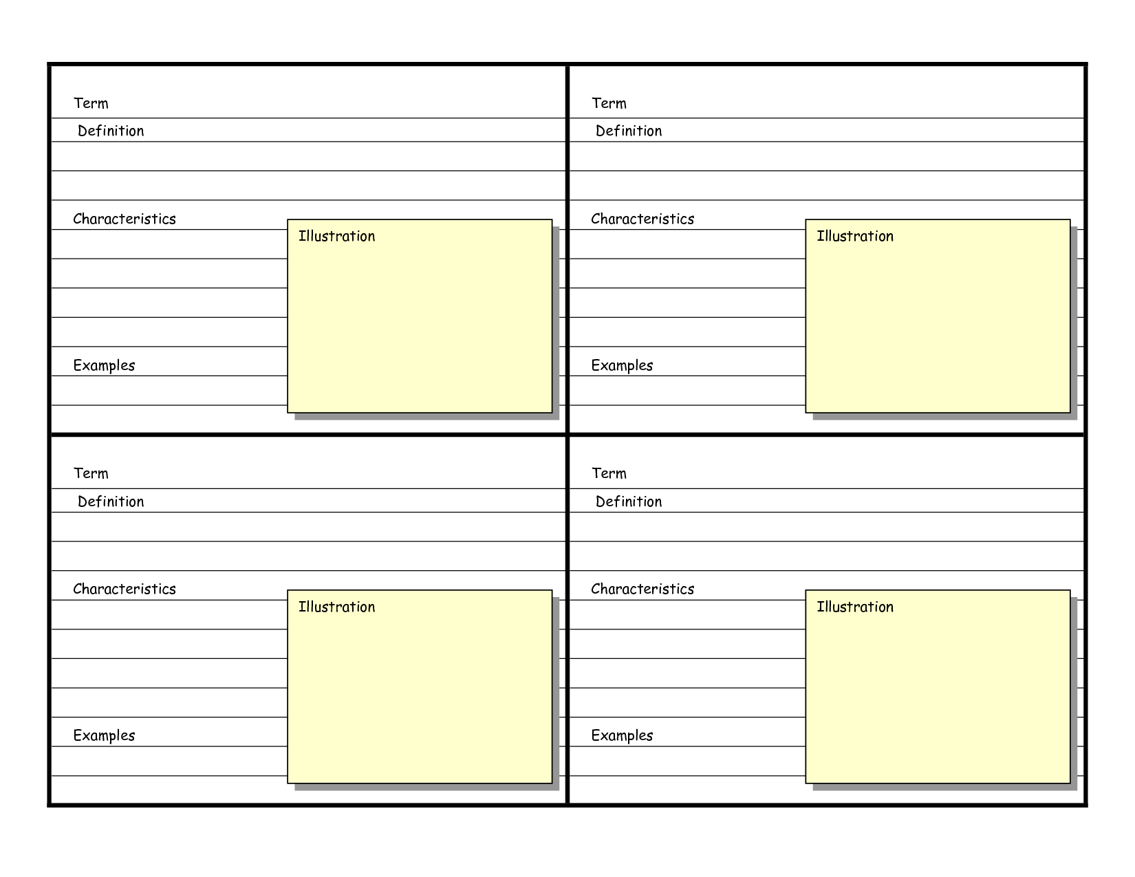 Blank Vocabulary Card Template | Frayer Models | Vocabulary Flash - Free Printable Blank Index Cards