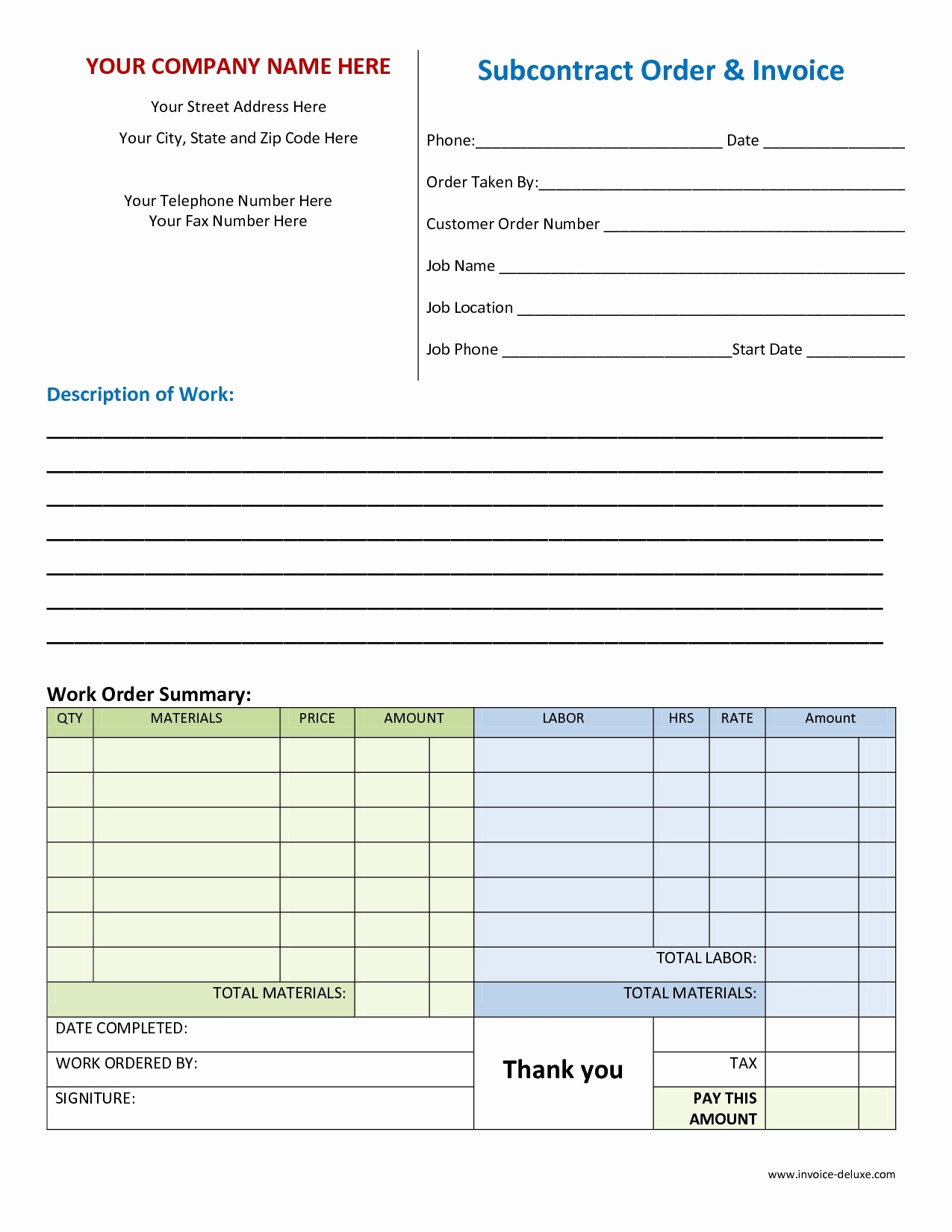 Blank Work Invoice Template As Well Free Printable With Plus - Free Printable Work Invoices