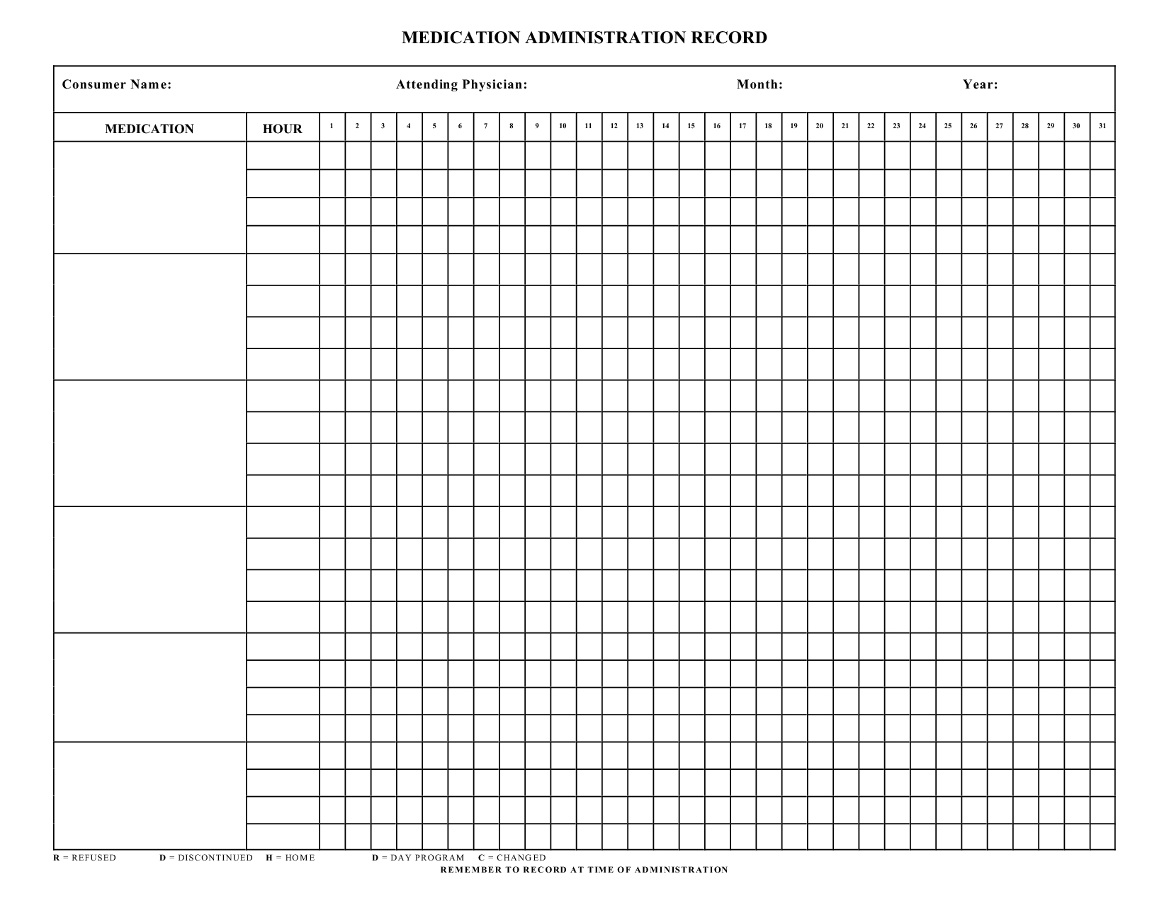Blank+Medication+Administration+Record+Template   Mrs. Summers - Free Printable Medication Chart