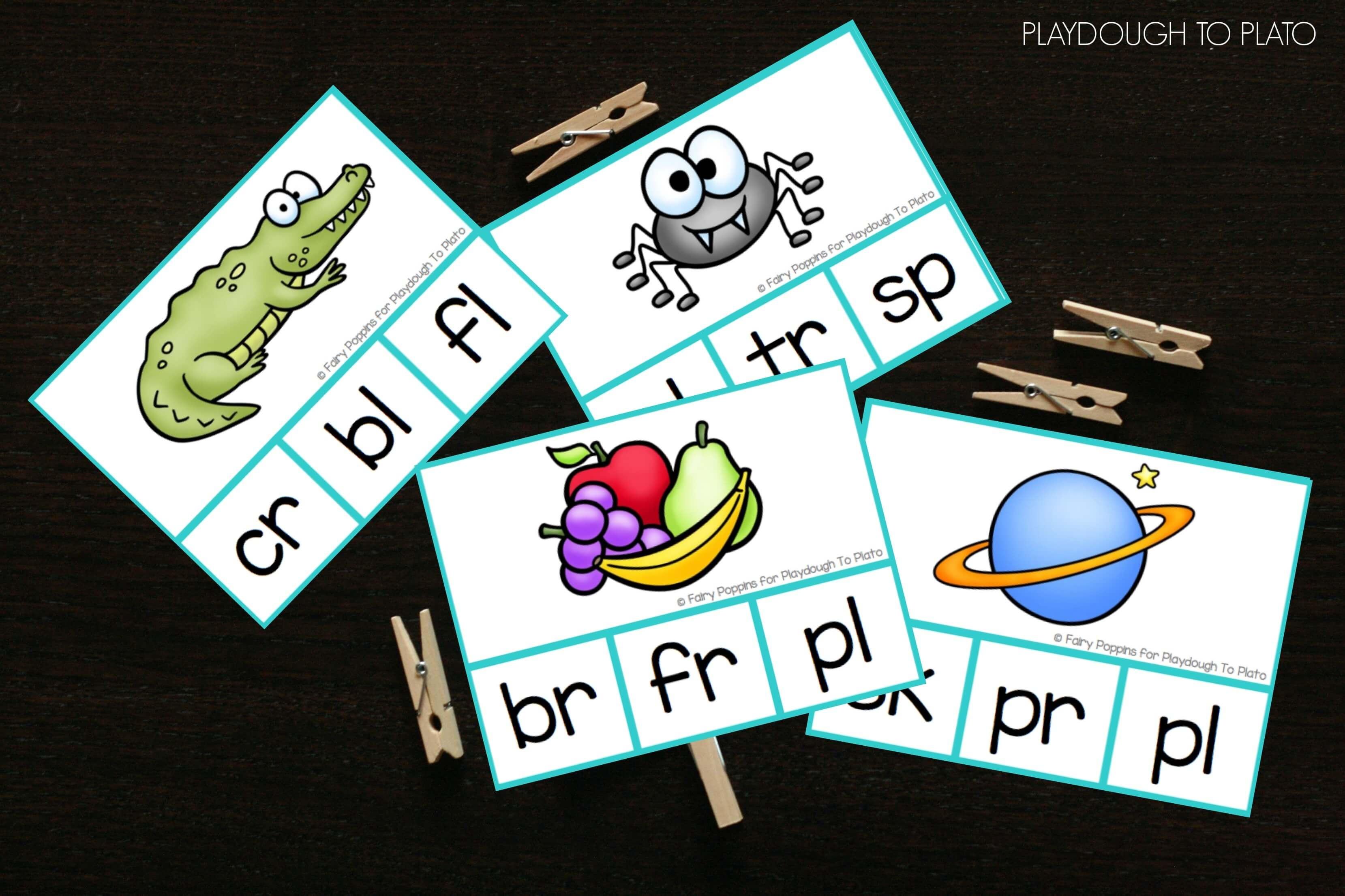 Blend Clip Cards - Playdough To Plato - Free Printable Blending Cards