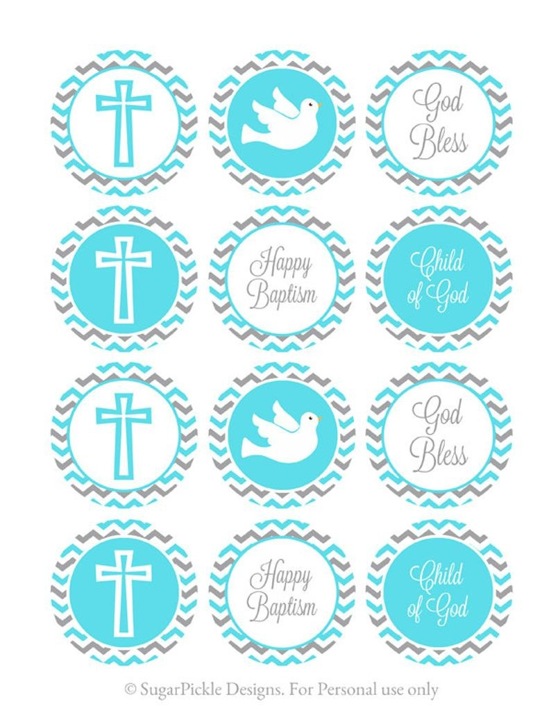 Blue And Grey Baptism Cupcake Toppers Baptism Cake Toppers | Etsy - Baptism Cupcake Toppers Printable Free