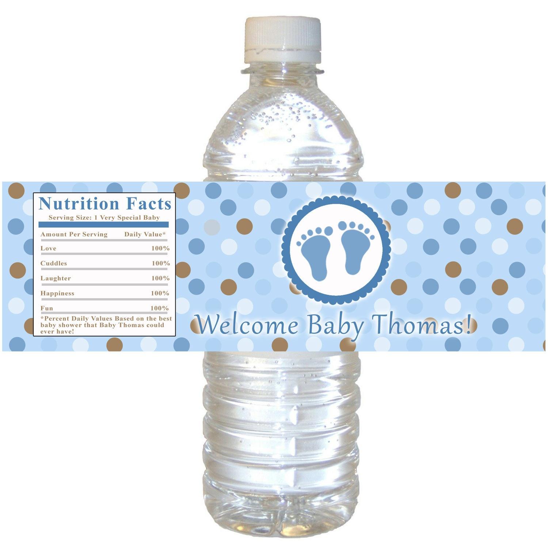 Blue Brown Baby Shower Bottle Label Polka Dots Boy Baby Shower - Free Printable Baby Shower Labels For Bottled Water