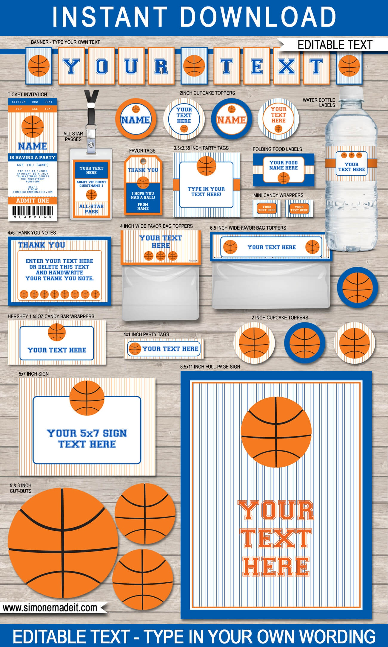 Blue Orange Basketball Printables, Invitations & Decorations - Basketball Invites Free Printable