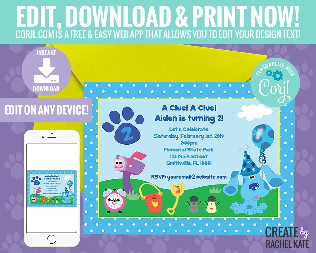 Blues Clues Birthday Party Personalized Printable Invitation | Etsy - Blue's Clues Invitations Free Printable