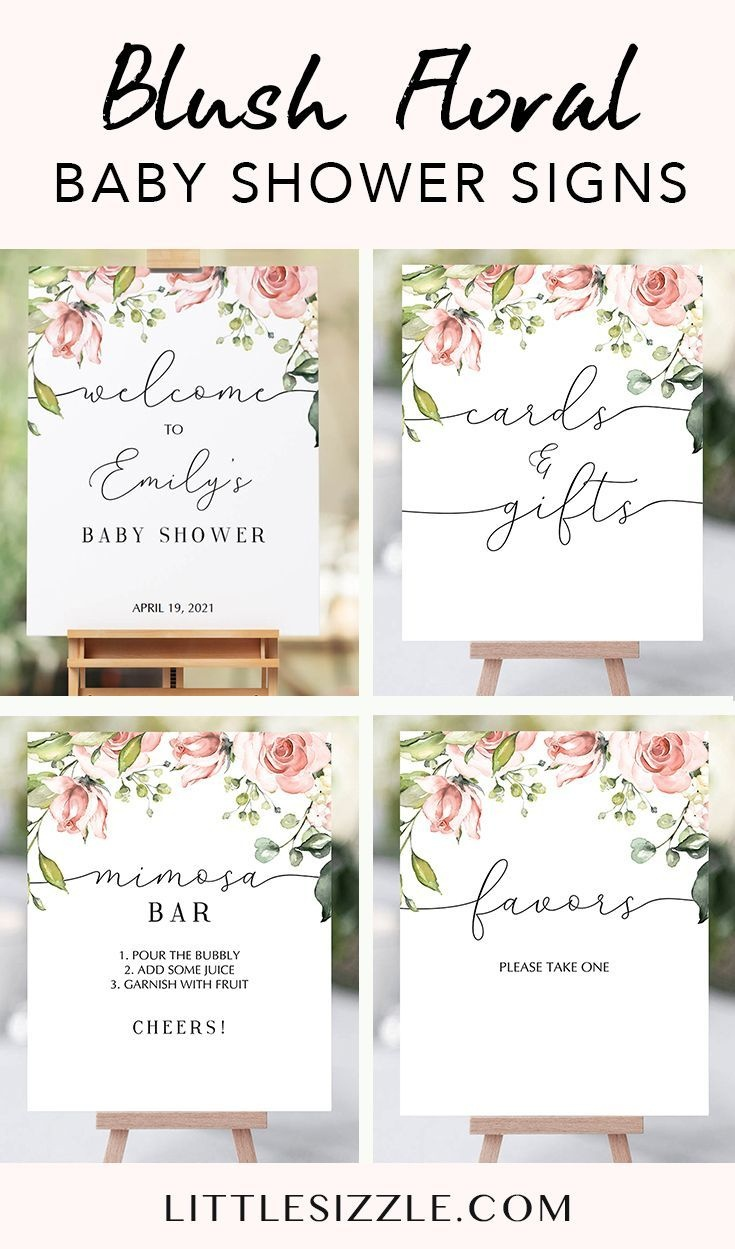 Blush Floral Baby Shower Signs Package Printable In 2019 | Party - Free Printable Baby Shower Table Signs