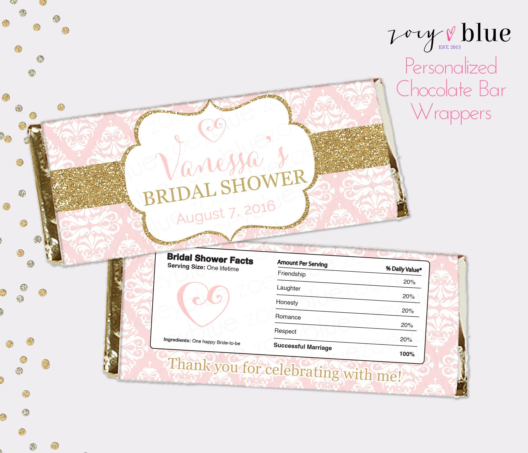 Blush Pink Gold Bridal Shower Chocolate Bar Wrapper   Etsy - Free Printable Candy Bar Wrappers For Bridal Shower