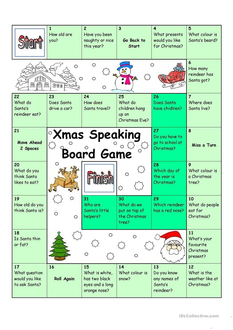 Board Game - Christmas & Santa Worksheet - Free Esl Printable - Free Printable Christmas Board Games