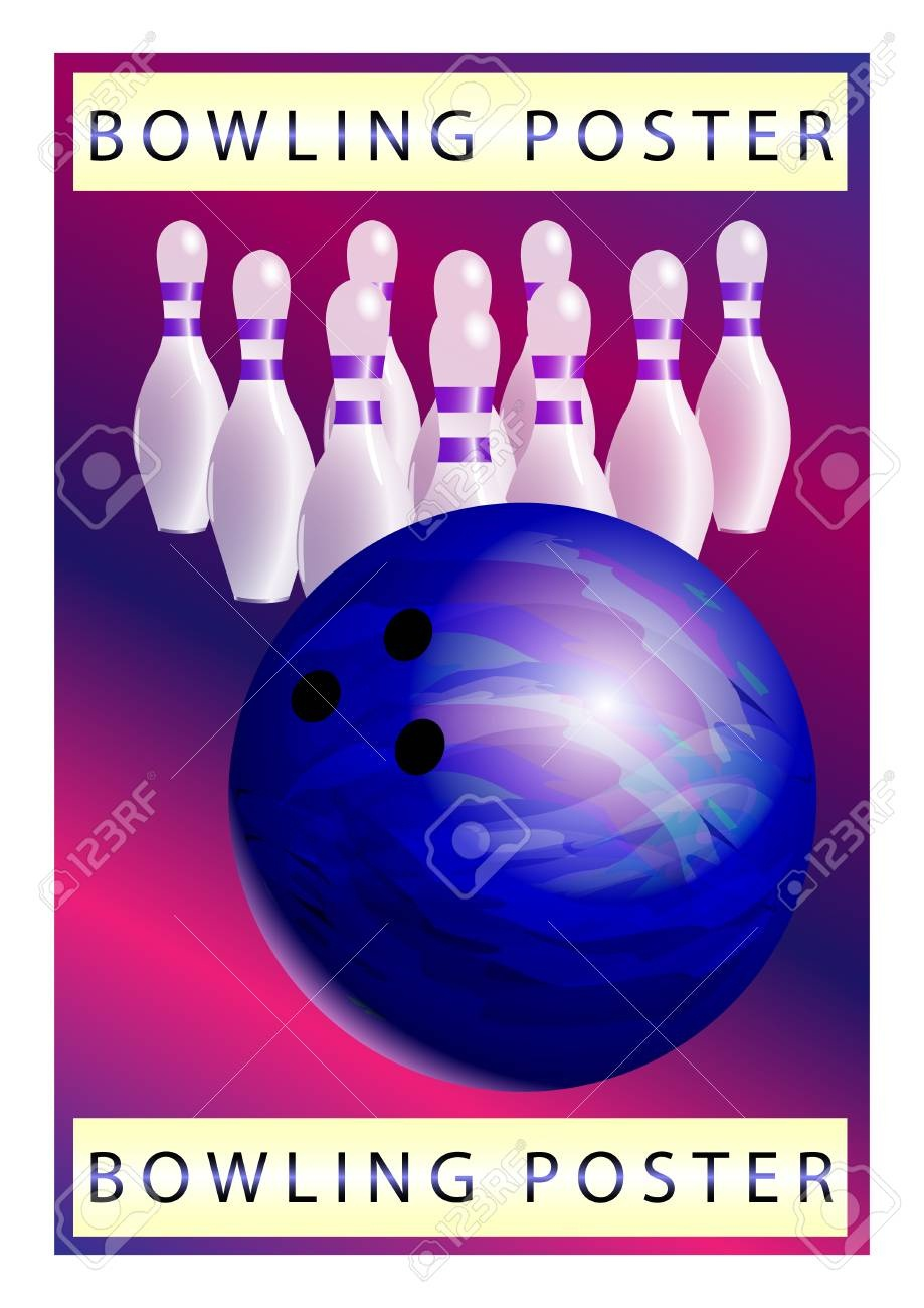 Bowling Poster Vector Template. Bowling Ball And Skittles Modern - Free Printable Bowling Ball Template
