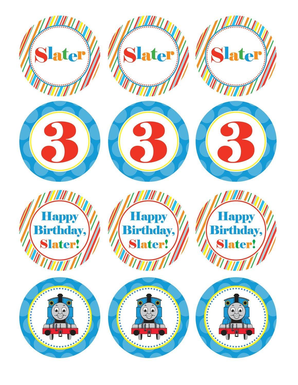 Boy Birthday, Thomas The Train, Custom Cupcake Toppers, Favor Tags - Free Printable Thomas The Train Cupcake Toppers