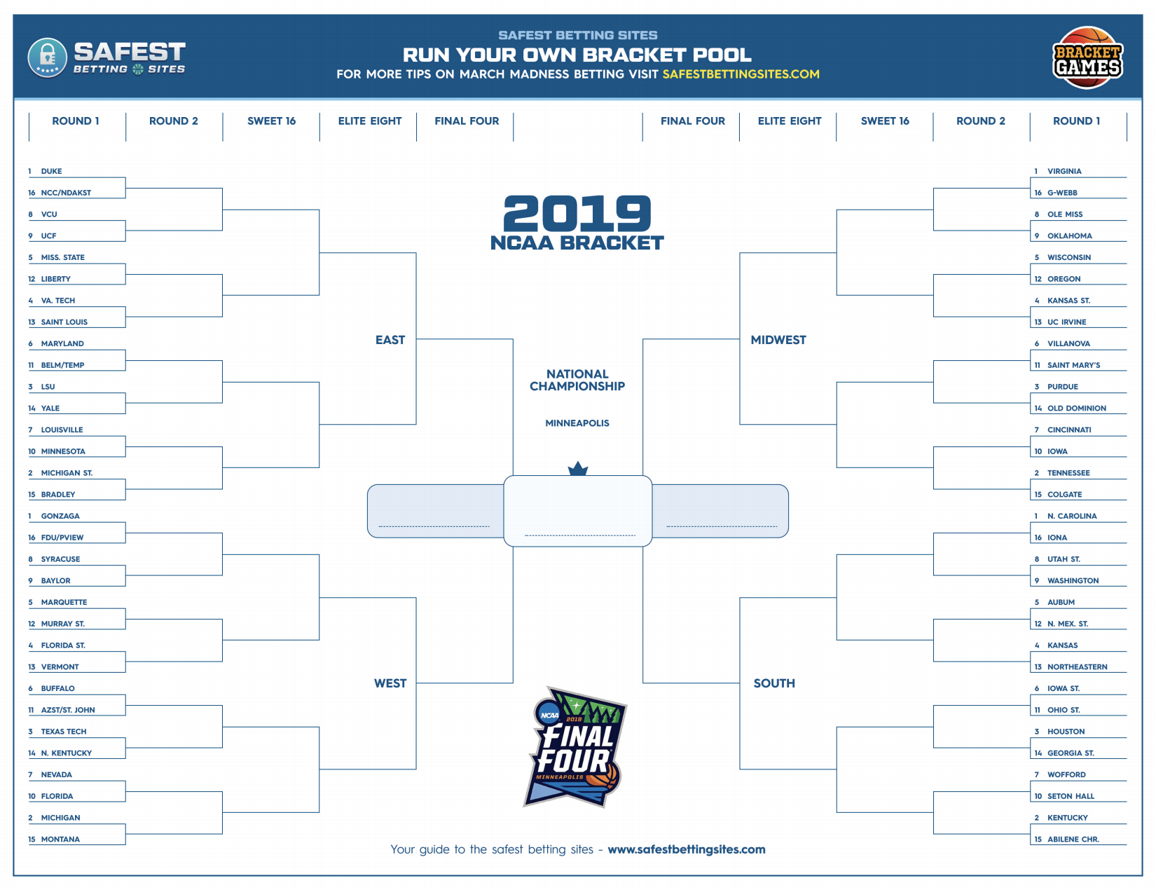 Bracket Challenge Template New March Madness 2019 Bracket Template - Free Printable Brackets