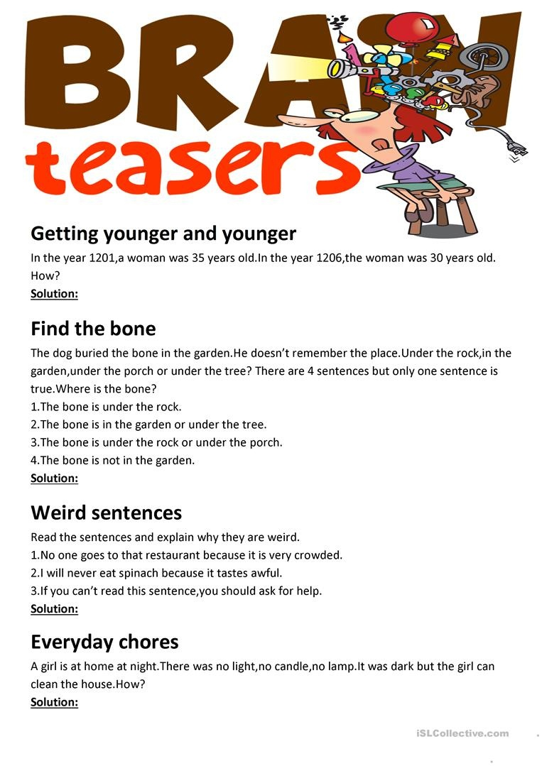 Brain Teasers(With Answer Key) Worksheet - Free Esl Printable - Free Printable Brain Teasers