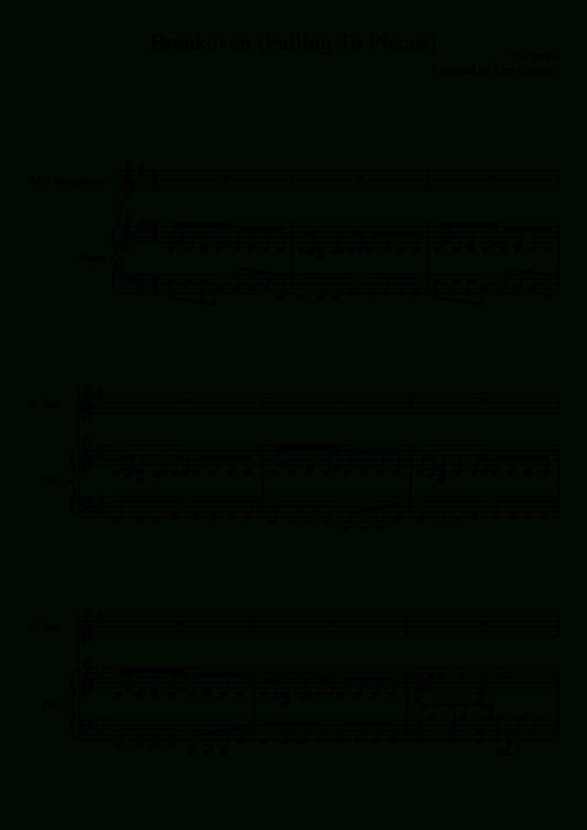 Breakeven-The Script (Full Song) | Pianoforte! | Piano Sheet Music - Dynamite Piano Sheet Music Free Printable