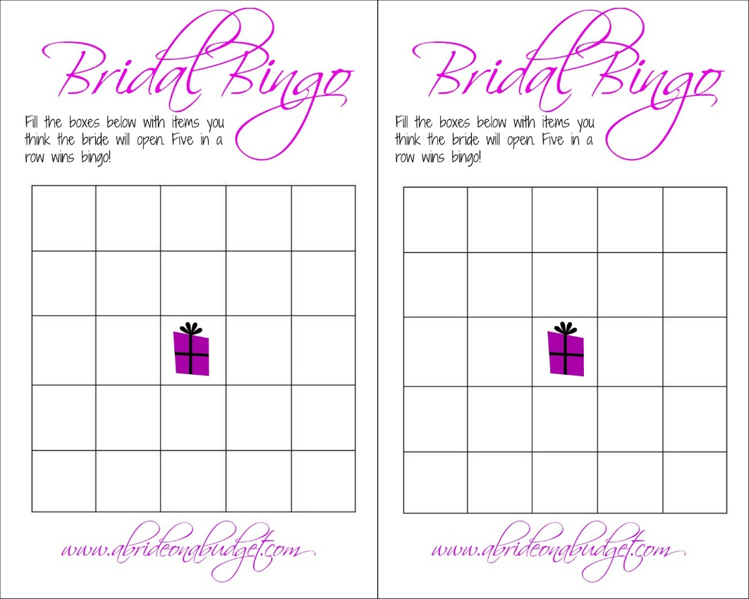 Bridal Bingo (And A Free Printable) | A Bride On A Budget - Free Printable Bridal Shower Blank Bingo Games