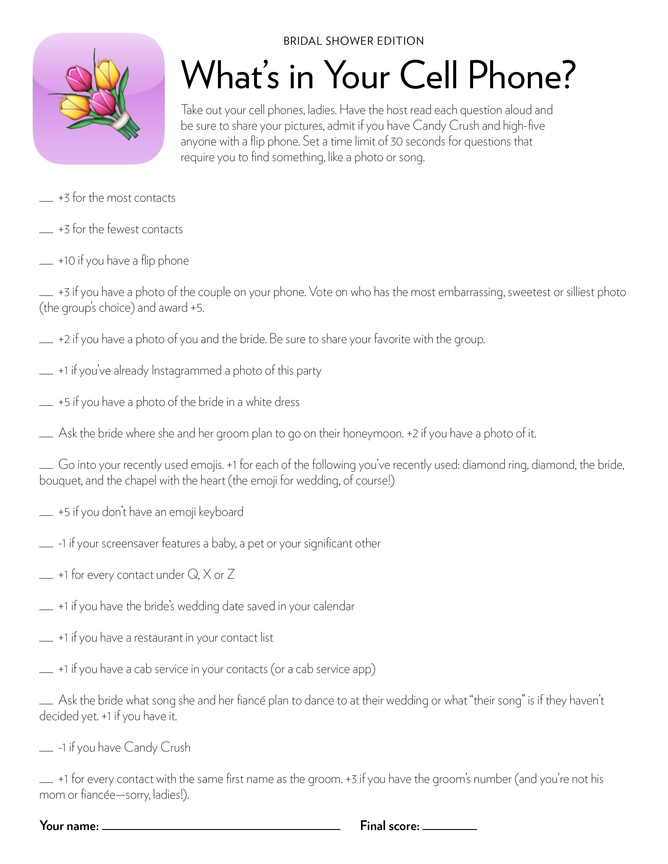 Bridal Shower & Bachelorette Game: What's In Your Cell Phone - What's In Your Cell Phone Game Free Printable