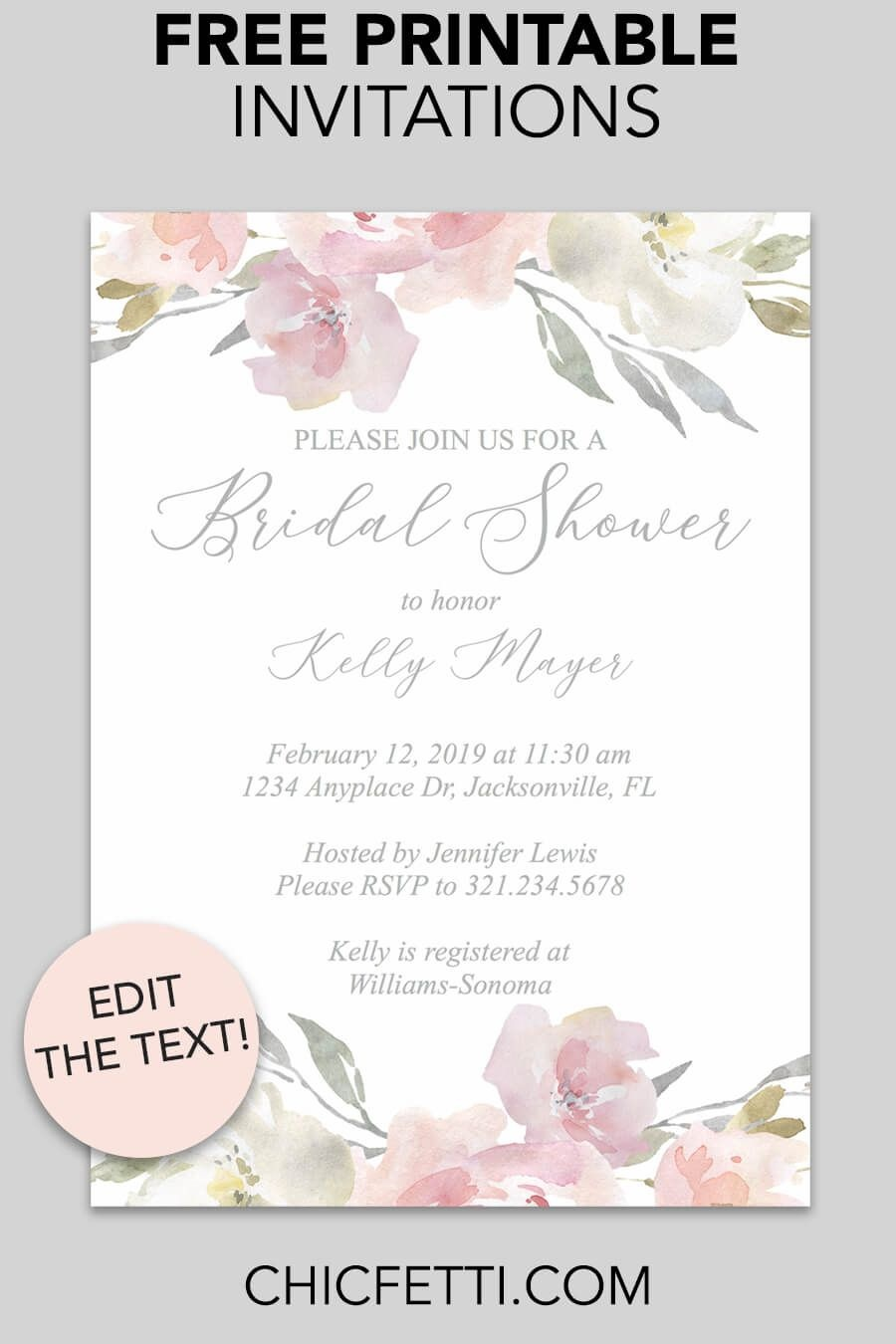 Bridal Shower Printable Invitation (Blush Floral | Invitations - Free Printable Bridal Shower Invitations