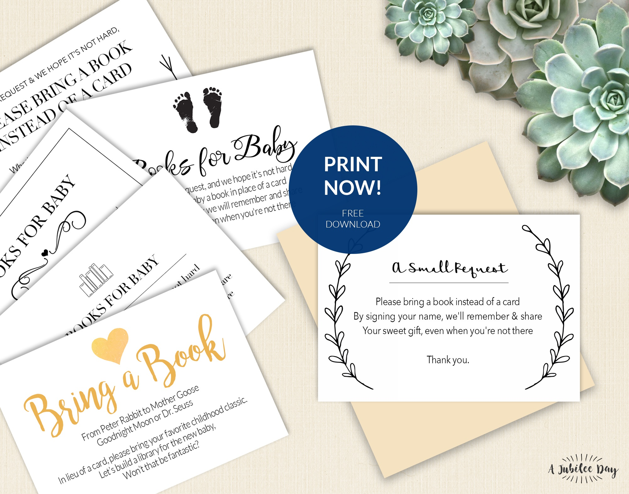 Bring A Book Instead Of Card (Free Printable!) - A Jubilee Day - Free Printable Baby Registry Cards