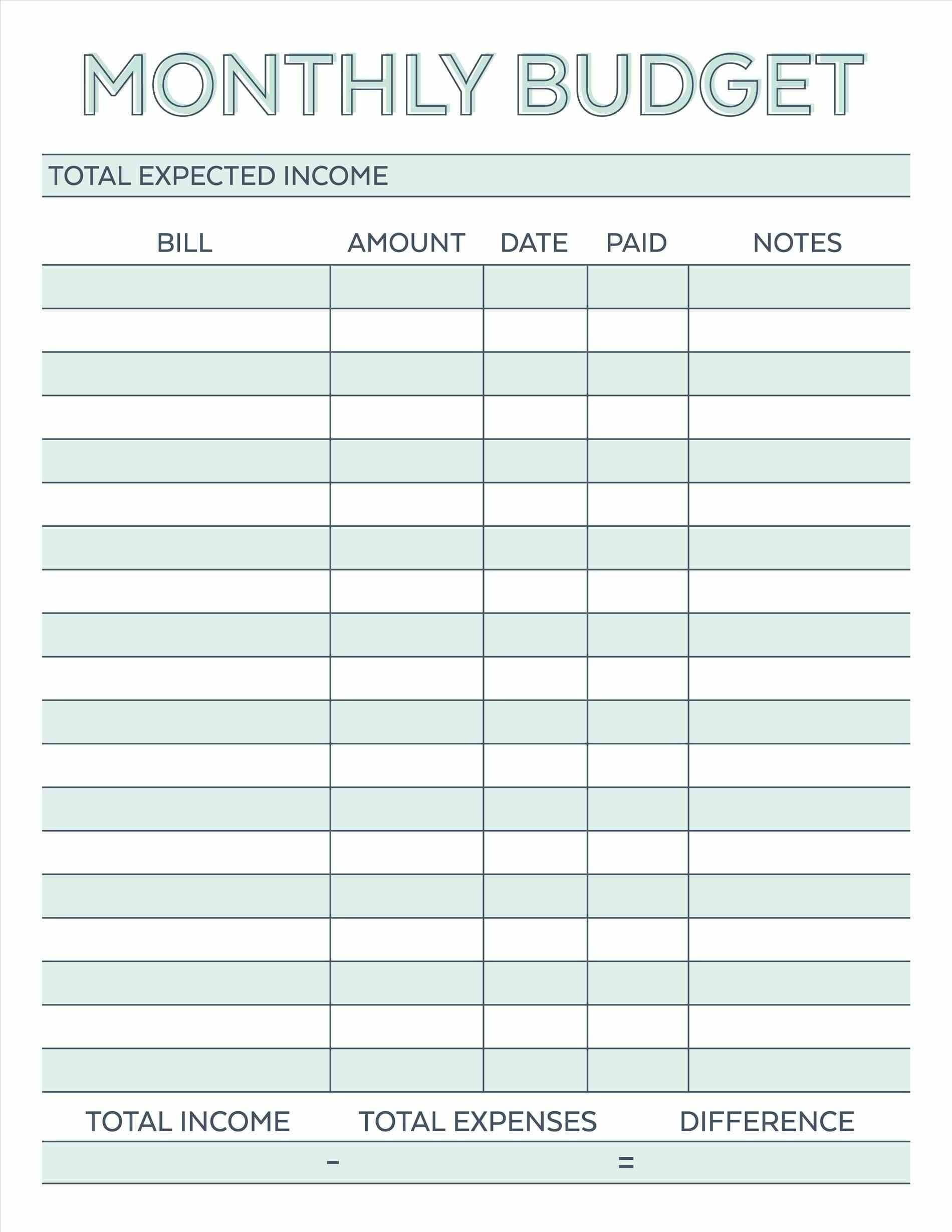 Budget Planner Planner Worksheet Monthly Bills Template Free - Free Printable Monthly Expenses Worksheet