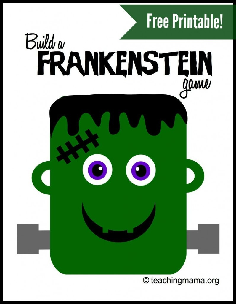 Build A Frankenstein Game - Roll A Monster Free Printable
