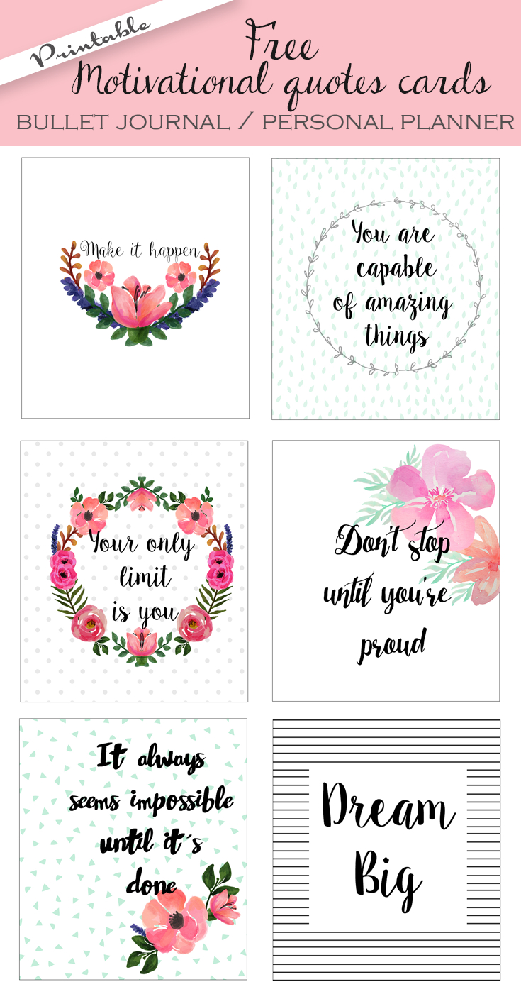 Bullet Journal / Personal Planner Motivational Quotes Cards. Free - Free Printable Personal Cards