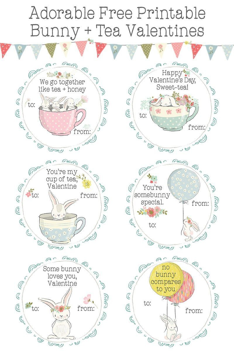 Bunnies + Tea Printable Valentines Day Cards For Kids | Valentine's - Free Printable Valentines Day Cards For Her