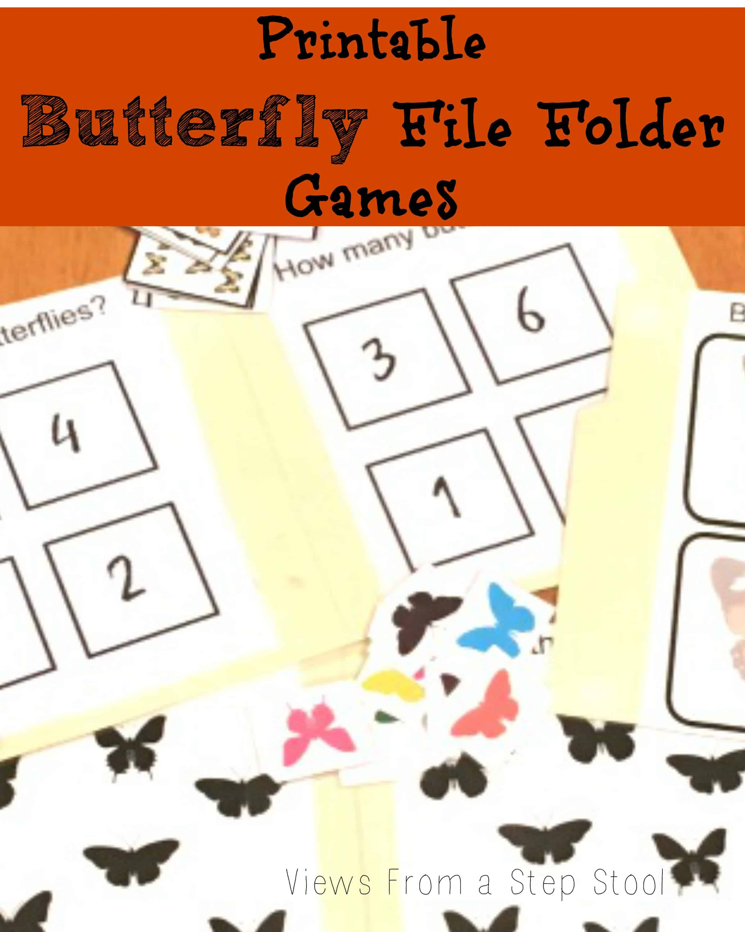Butterfly File Folder Games: Free Printable! - Views From A Step Stool - Free Printable Math File Folder Games For Preschoolers