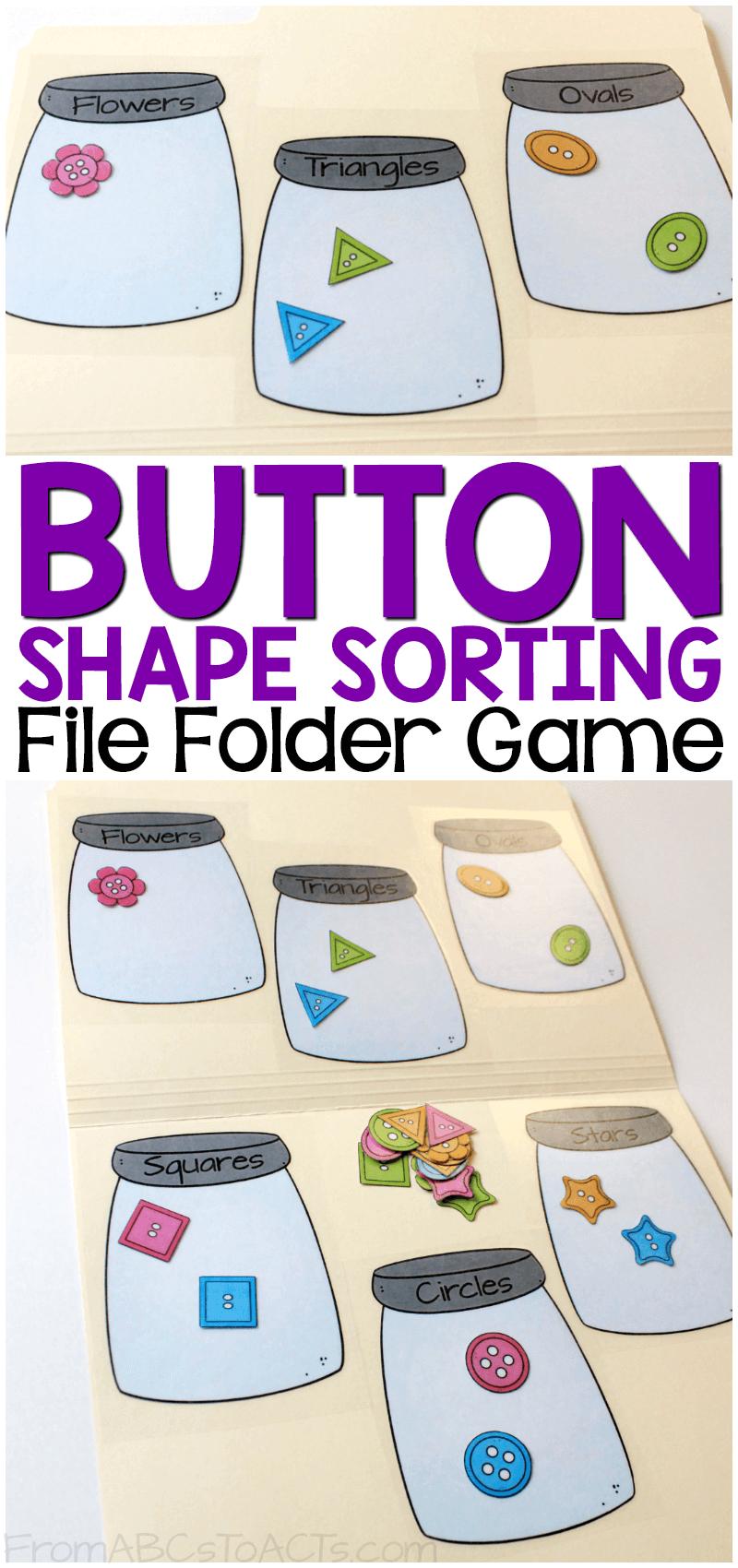Button Shape Sorting Printable File Folder Game | Homeschool - Free Printable Math File Folder Games For Preschoolers