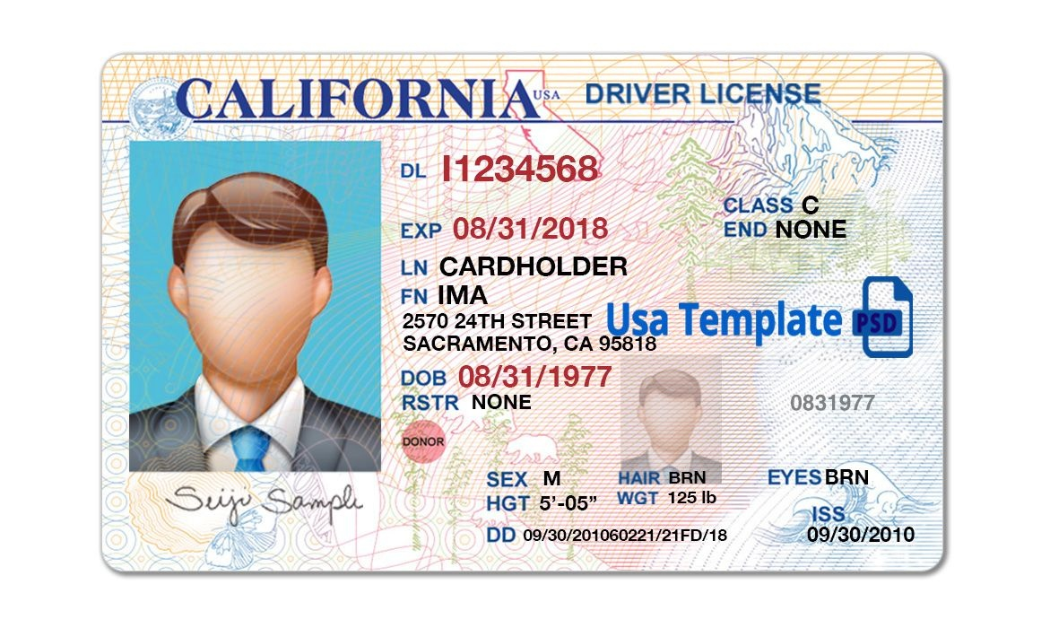 California Driver License Template. Open California Psd File With - Free Printable Fake Drivers License