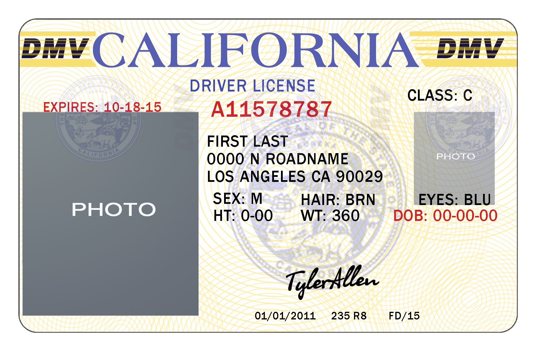 California Drivers License Template | California | Drivers License - Free Printable Fake Drivers License
