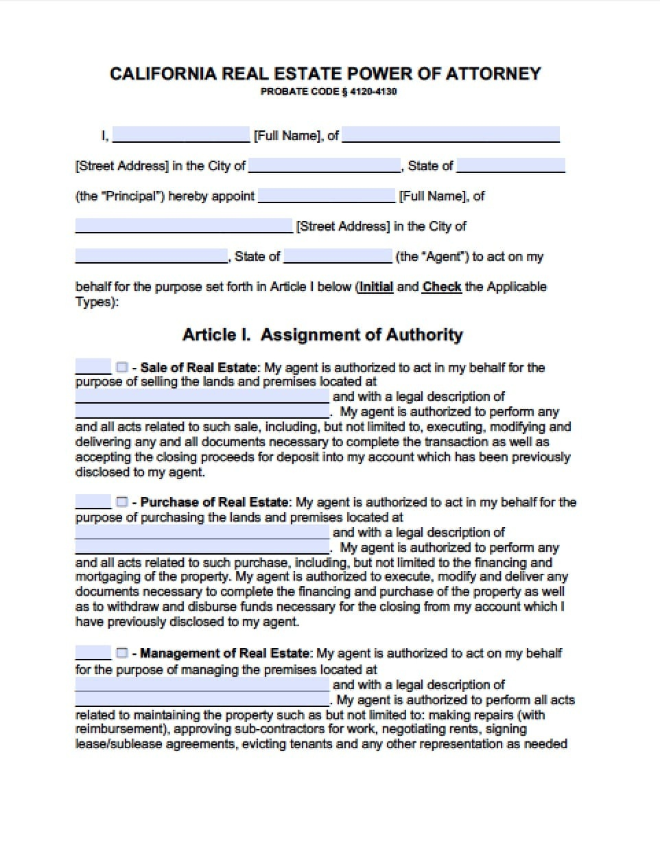 California Real Estate Only Power Of Attorney Form - Power Of - Free Printable Power Of Attorney Form California