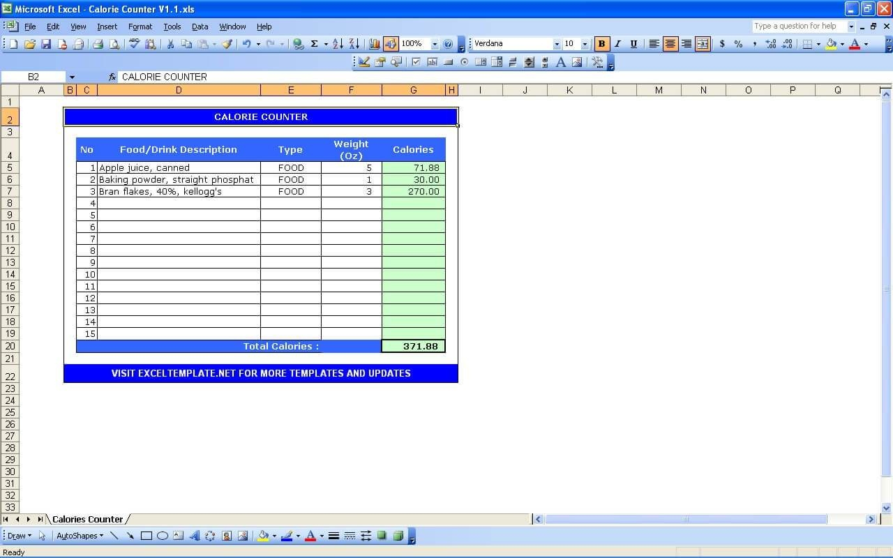Calorie Tracker Template. Calorie Counter Calculator Excel Templates - Free Printable Calorie Counter Sheet