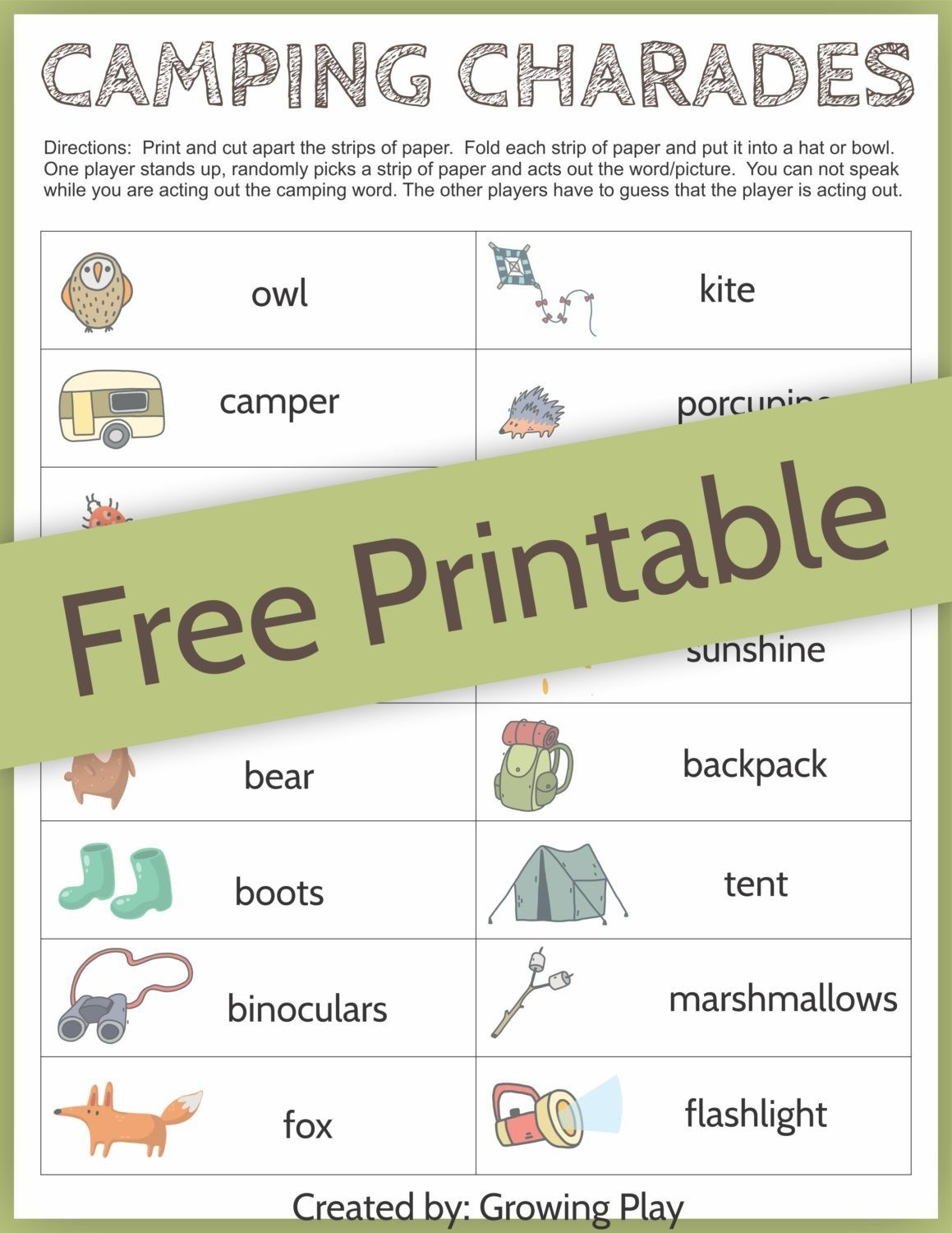 Camping Charades Game For Kids - Free Printable   Camping   Free - Free Printable Camping Games