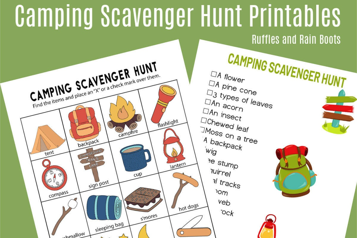 Camping Scavenger Hunt - Printables For Two Age Groups! - Free Printable Camping Games