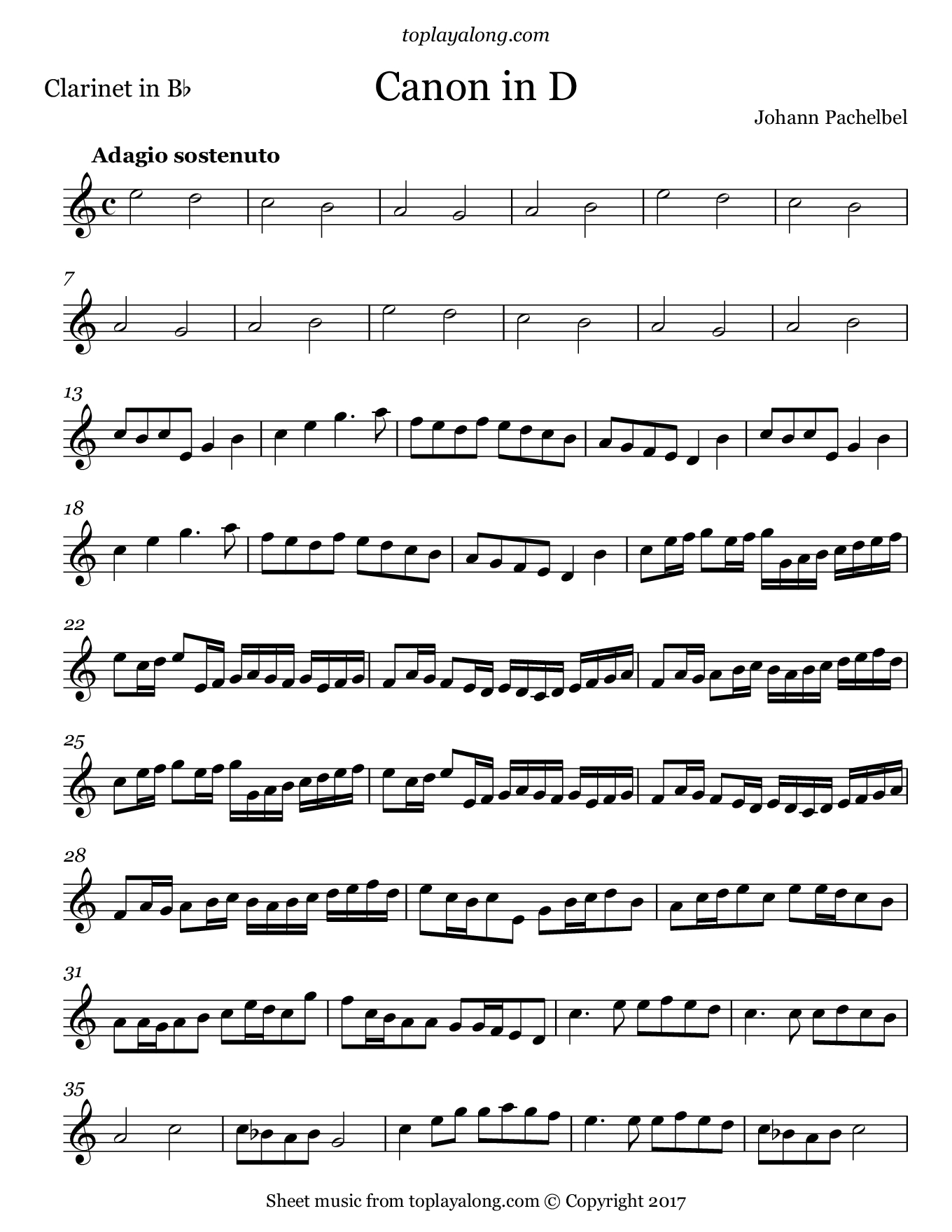 Canon In D – Toplayalong - Free Printable Clarinet Sheet Music