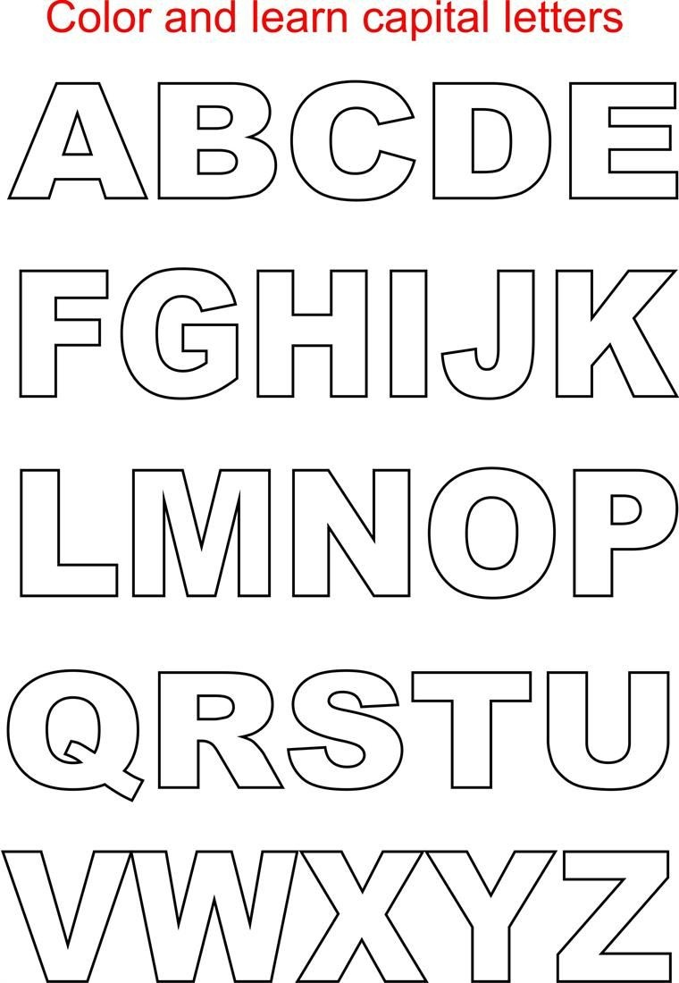Capital Letters Coloring Printable Page For Kids: Alphabets Coloring - Free Printable Block Letters