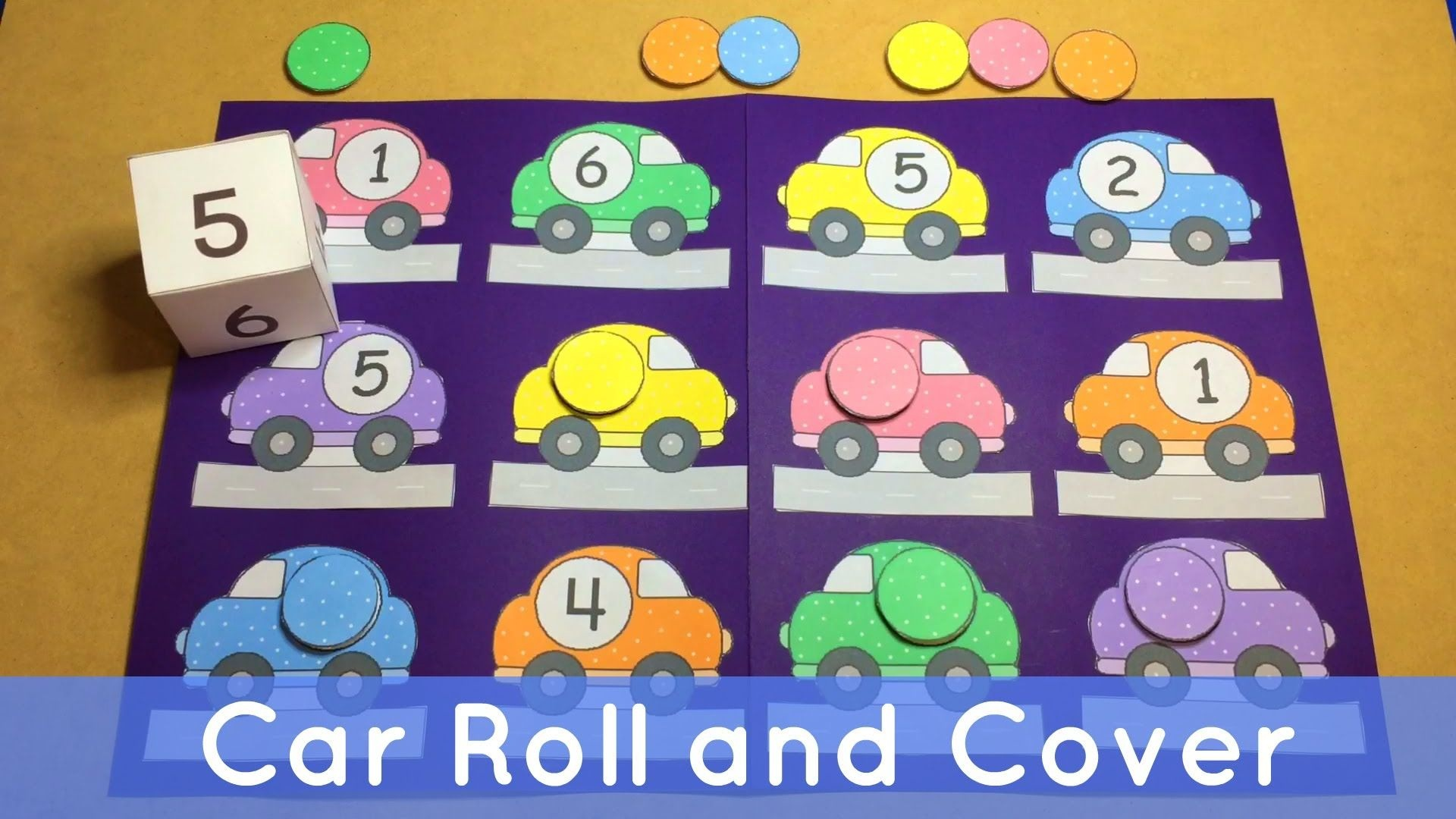 Car Roll And Cover - Preschool File Folder Game For Math Centers - Free Printable Math File Folder Games For Preschoolers