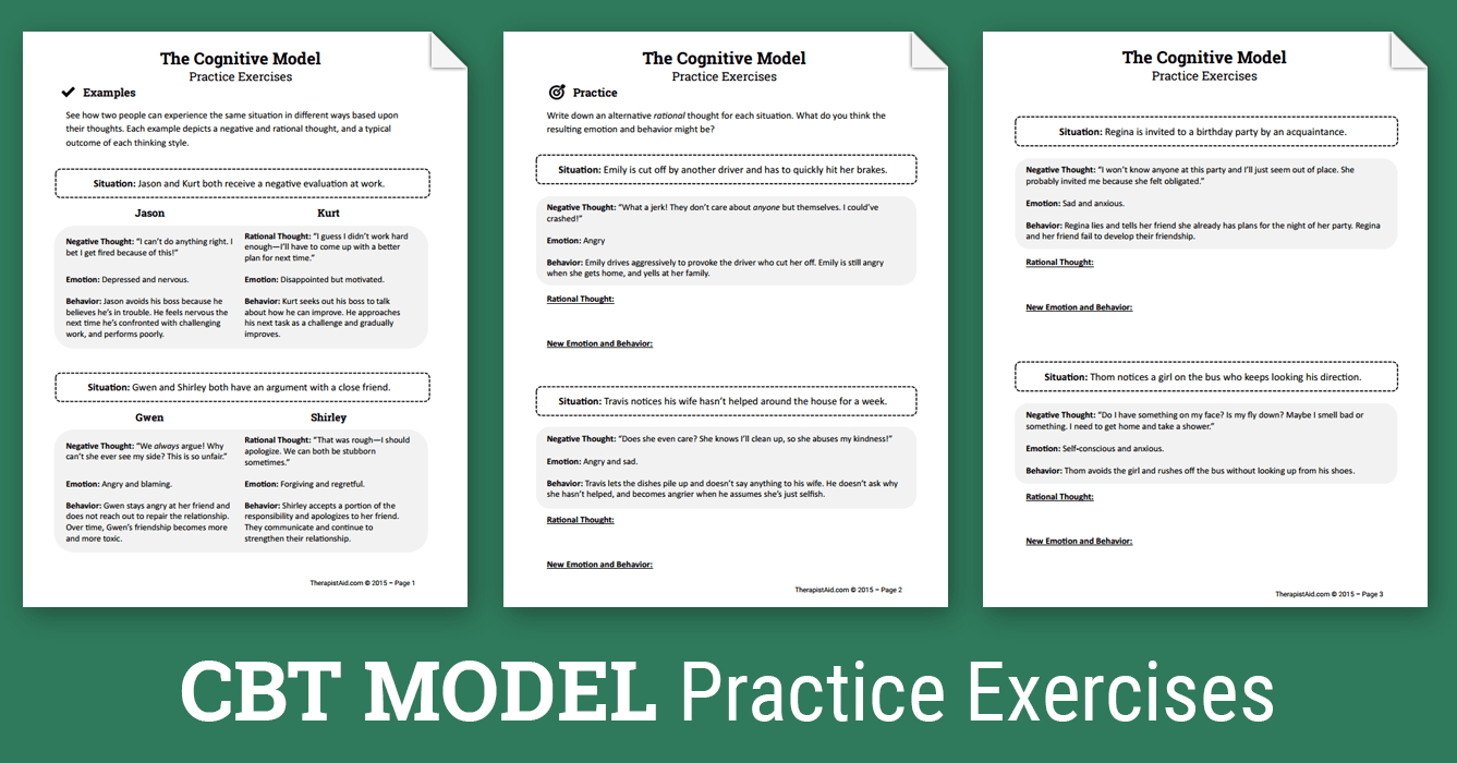 Cbt Practice Exercises (Worksheet)   Therapist Aid - Free Printable Therapy Worksheets