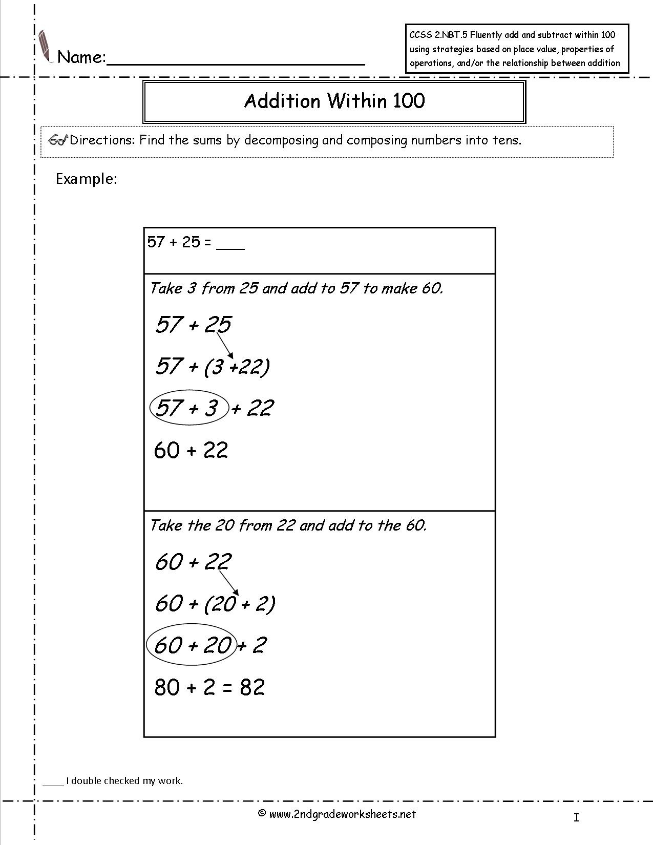 Ccss 2.nbt.5 Worksheets. Two Digit Addition And Subtraction Within - Free Printable Common Core Math Worksheets For Third Grade