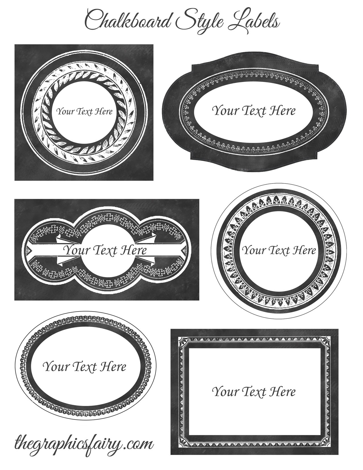 Chalkboard Style Printable Labels - Editable! - The Graphics Fairy - Free Editable Printable Labels