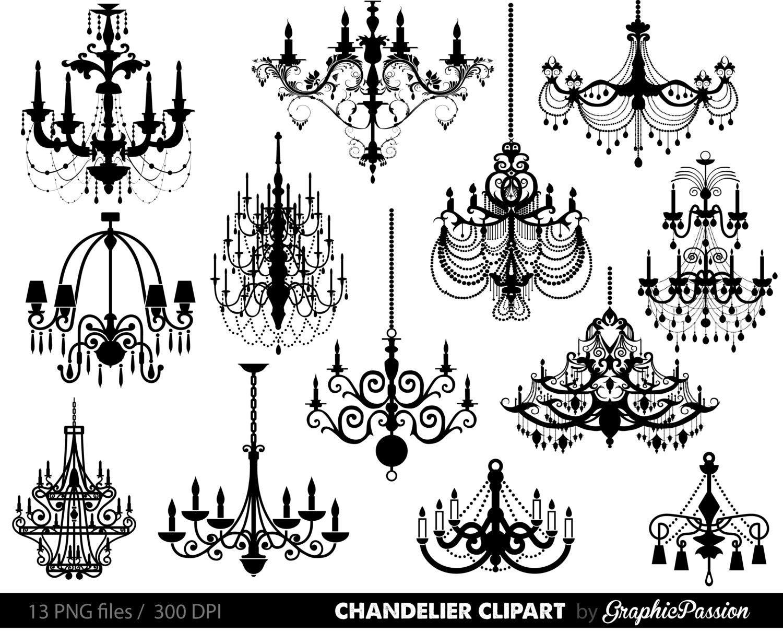 Chandelier Clip Art Scrapbooking Chandelier Clipart Printable | Etsy - Free Printable Chandelier Template