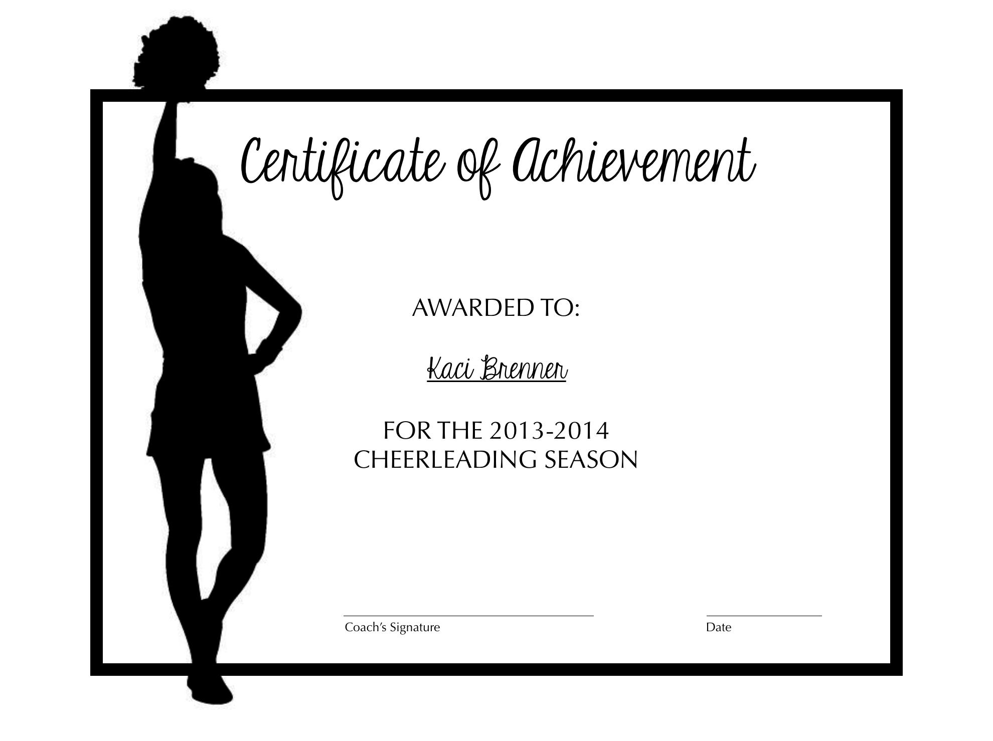Cheerleading Certificate Of Achievement | Cheer | Cheer Coaches - Free Printable Cheerleading Certificates