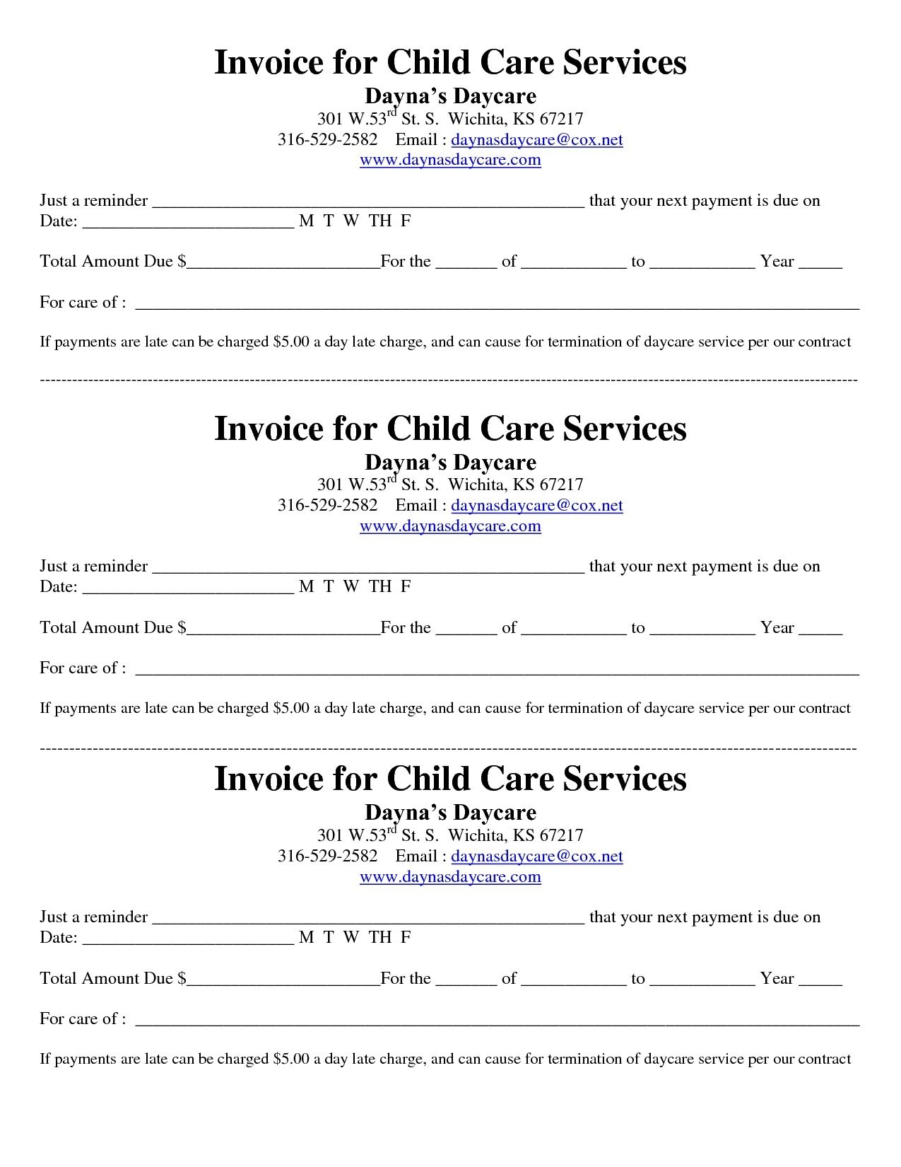 Child Care Receipt/invoice | Jordi Preschool | Invoice Template - Free Printable Daycare Receipts