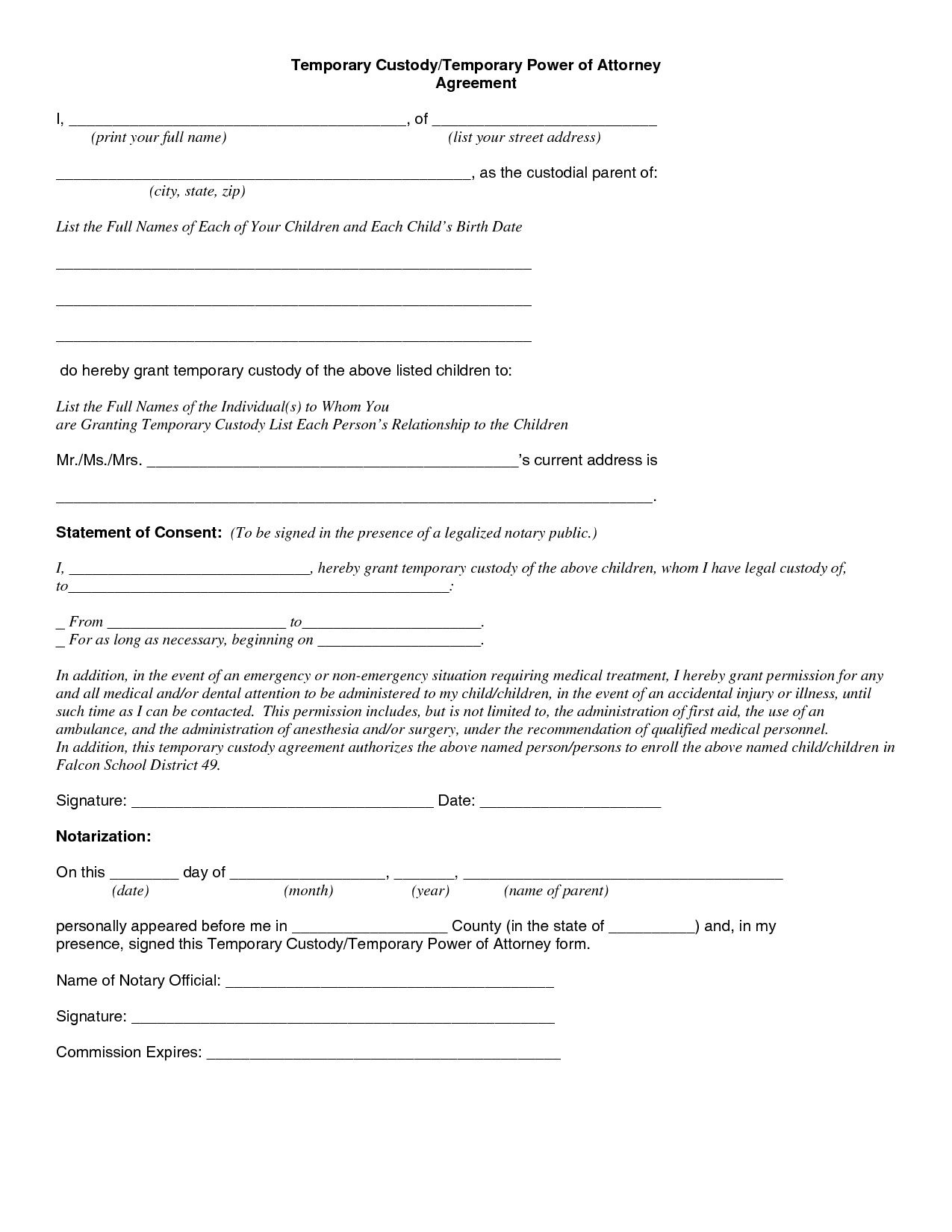 Child Custody Agreement Special Best S Of Temporary Guardianship - Free Printable Child Custody Forms